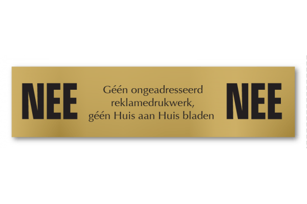 Nee/Nee stickerbordje Brons