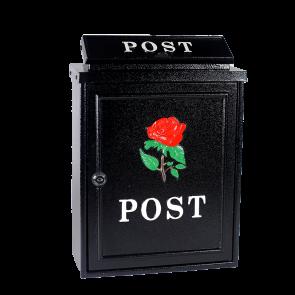Zwarte brievenbus met roos